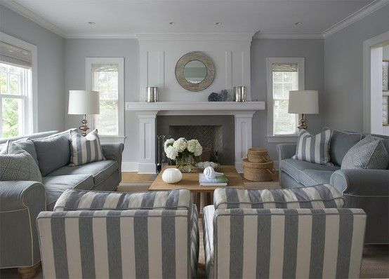 Gray on gray Gray on gray Gray on gray: Gray Whit Stripes, Living Rooms, Paintings Colors, Colors Schemes, Fireplaces Ideas, Fireplace Ideas, Gray Stripes, Gray Wall, White Wall