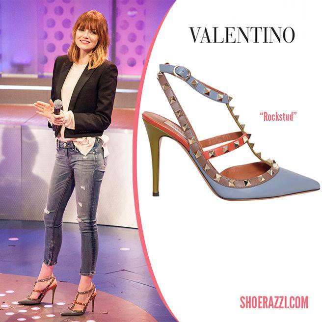Emma Stone in Valentino Colorblock Rockstud Fall 2014 Studded Leather Pumps - ShoeRazzi