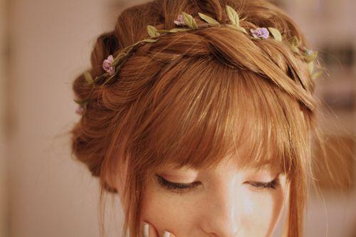 Crown braid with flowers.: Hair Colors, Flowers Headbands, Wedding Hair, Flowers Braids, Flowers Crowns, Flowers Girls, Hair Style, Crowns Braids, Braids Headbands
