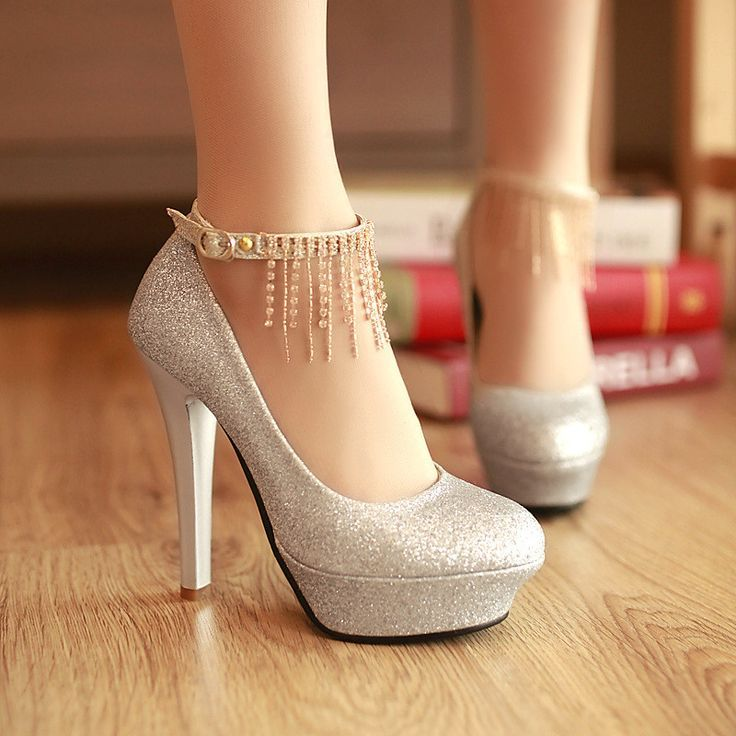 Strass Quaste Knöchelriemen Frauen Plateau Pumps High Heels Hochzeit Schuhe