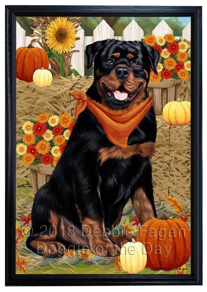Fall Autumn Greeting Rottweiler Dog With Pumpkins Framed Canvas Print Wall Art Fcvs96348 Rottweiler Dog Dog Breeds Rottweiler