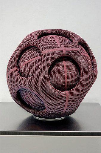 Ceramics, Gregory Roberts, Artist, Forget-Me-Knot, sculpted honeycomb ceramics, dye, glaze, multiple firings, 11 x 10 x 9 in