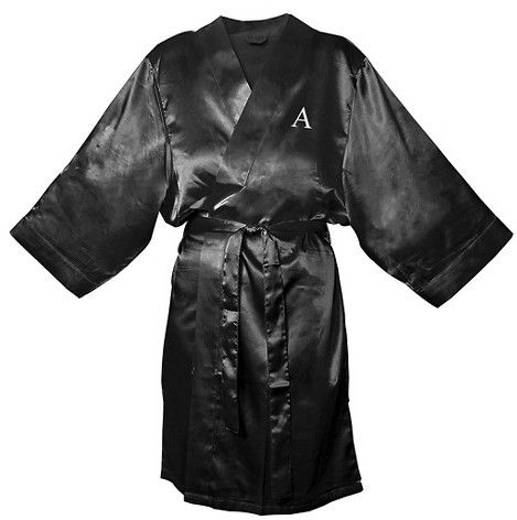 Monogram Bridesmaid Black Satin Robe