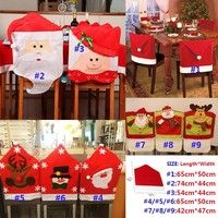 Wish | 1 PC Christmas Dinner Decoration Decor Santa Clause Snowman Reindeer Red Hat Chair Back Cover