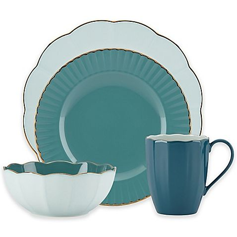 K--Contemporary chic gets colorful with the charming Marchesa by Lenox Shades of Teal Dinnerware. Crafted of durable ironstone, this pretty collection features fluted rims, scalloped edges, and microwave safe gold banding for an elegant everyday look.