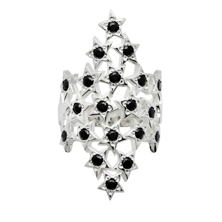 Silver with Black Spinels