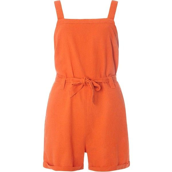 Dorothy Perkins Orange Linen Playsuit ($49) ❤ liked on Polyvore featuring jumpsuits, rompers, orange, playsuit romper, linen romper, dorothy perkins and orange romper