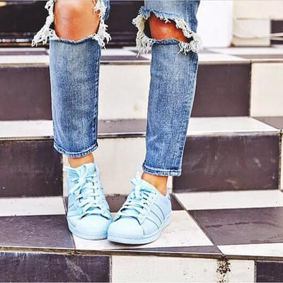 Love blue on blue, especially where ripped denim and Superstars are concerned! #asosXCovetMe #asos #covetme