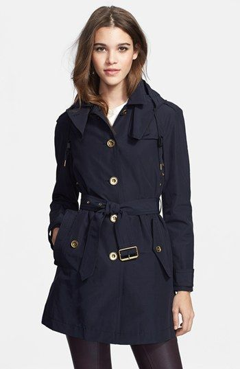 Burberry Brit 'Levinford' Single Breasted Hooded Trench Coat available at #Nordstrom