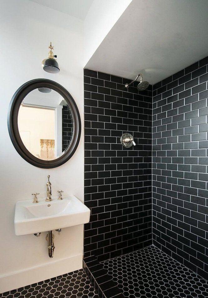 60 Badezimmer Schwarz Und Weiss Dekoriert Schone Bilder Neu Dekoration Stile Badezimmer Schwarz Bad Inspiration Dusche Fliesen