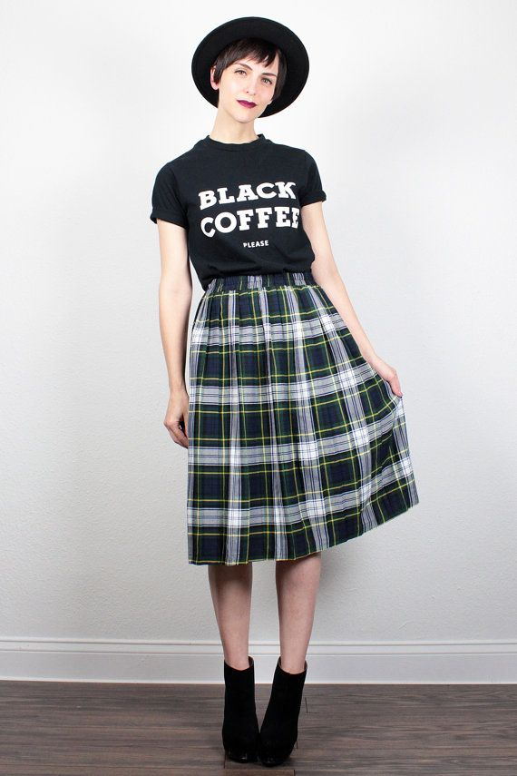 I really love the look of long, high waisted skirts!  Plus a casual tee, perfect blend of fashion and comfort. I think this skirt maybe a tiny bit long or not structure enough but I love the plaid.