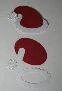 santa hat with 3 oval punches from SU and a little flower. For My handmade greeting cards visit me at My English Personal blog: http://stampingwithbibiana.blogspot.com/