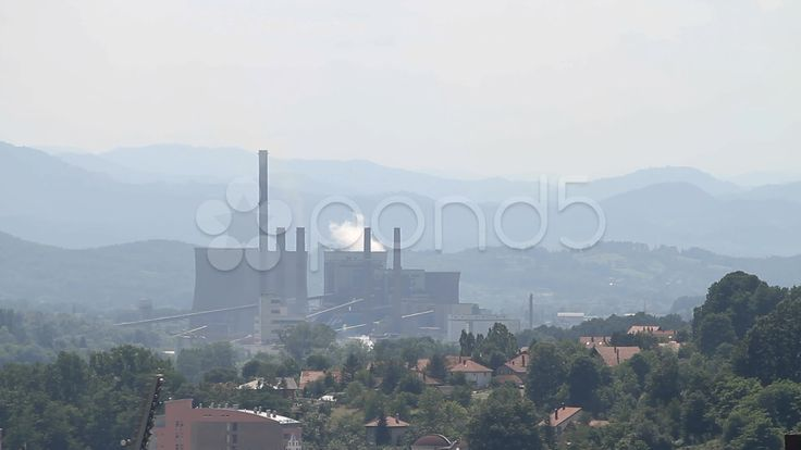 Industrial smoke from chimney on blue sky, powerhouse Stock Footage