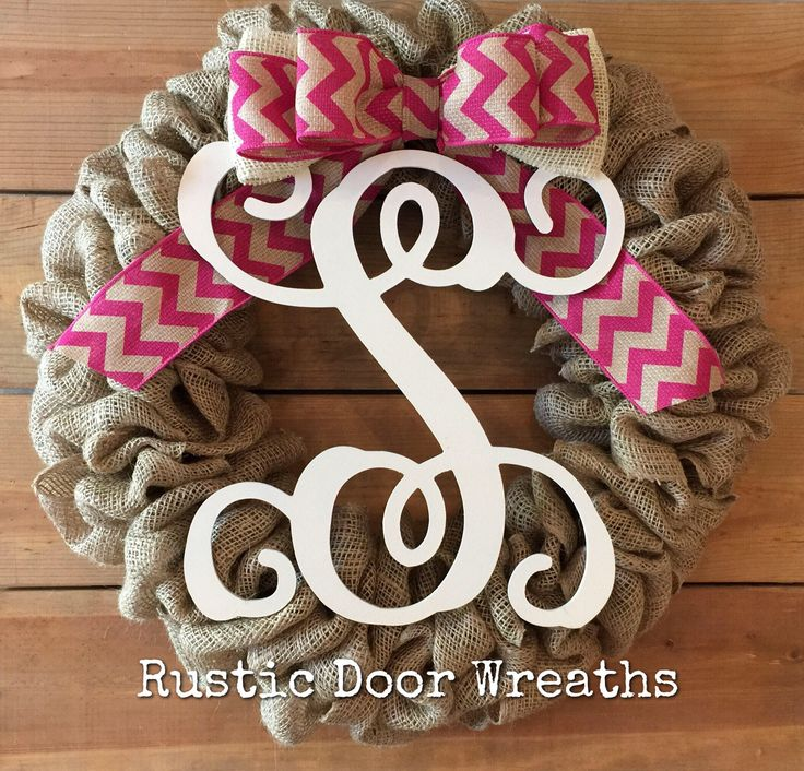 A personal favorite from my Etsy shop https://www.etsy.com/listing/525020434/monogram-burlap-wreath-pink-chevron-bow