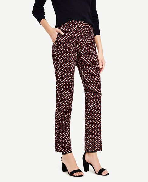 """A+slim+silhouette+in+a+sleek+diamond+print+makes+this+ankle+length+pair+irresistibly+flattering.+Our+modern+fit,+leaner+through+your+hips+and+thighs.+Contoured+curtain+waistband+offers+extra+tailoring+detail+for+a+better+fit.+Front+zip+with+double+hook-and-bar+closure.+Front+off-seam+pockets.+Back+welt+pockets.+27""""+inseam."""