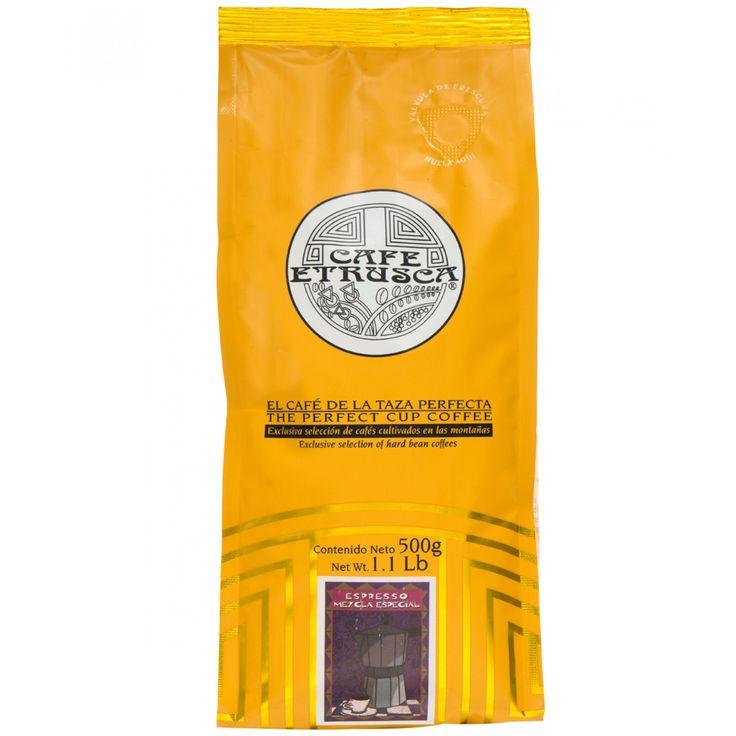 Café Etrusca de molido esspreso; una mezcla de cafés arábigos cultivados en las altas montañas mexicanas profesionalmente seleccionados para obtener un café con excelente aroma pronunciada acidez y cuerpo entero.