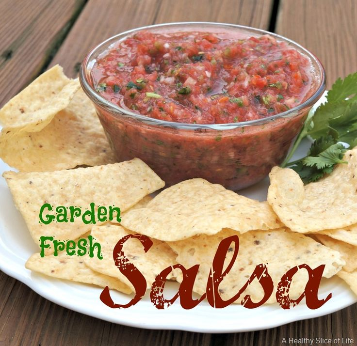 garden fresh salsa recipe- We tried this with homegrown heirloom tomatoes and loved it.