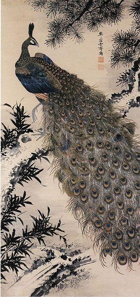 Kujyakuzu, Sessai  Masuyama,孔雀図 増山雪斎筆,18th Century,Japan