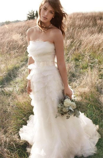 Tiered tulle and Organza Gown. Rustic Country Wedding Dress.