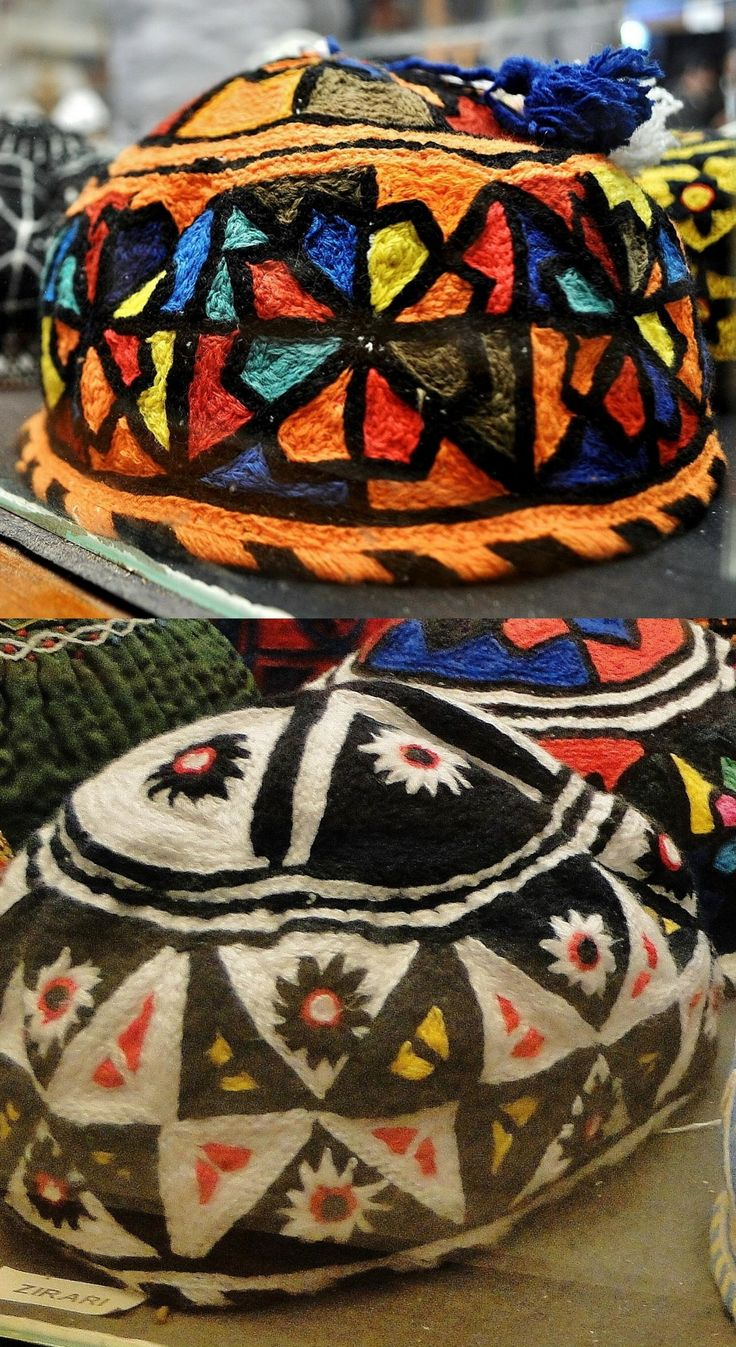 Close-ups of two Kurdish embroidered caps for men. From Iraqi Kurdistan, ca. 1975. Top: Surchi tribe; bottom: Zirari/Zerary tribe. (Kurdish Textiles Museum, Erbil, northern Iraq).