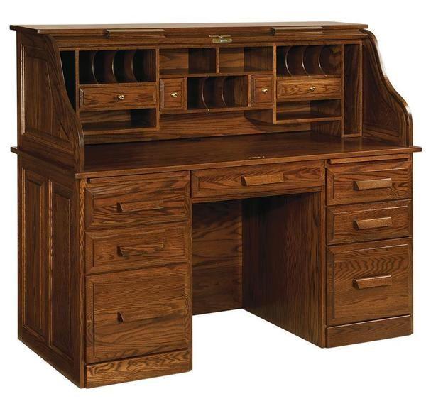 Amish Farmer S Oak Wood Roll Top Desk Quick Ship In 2020 Roll