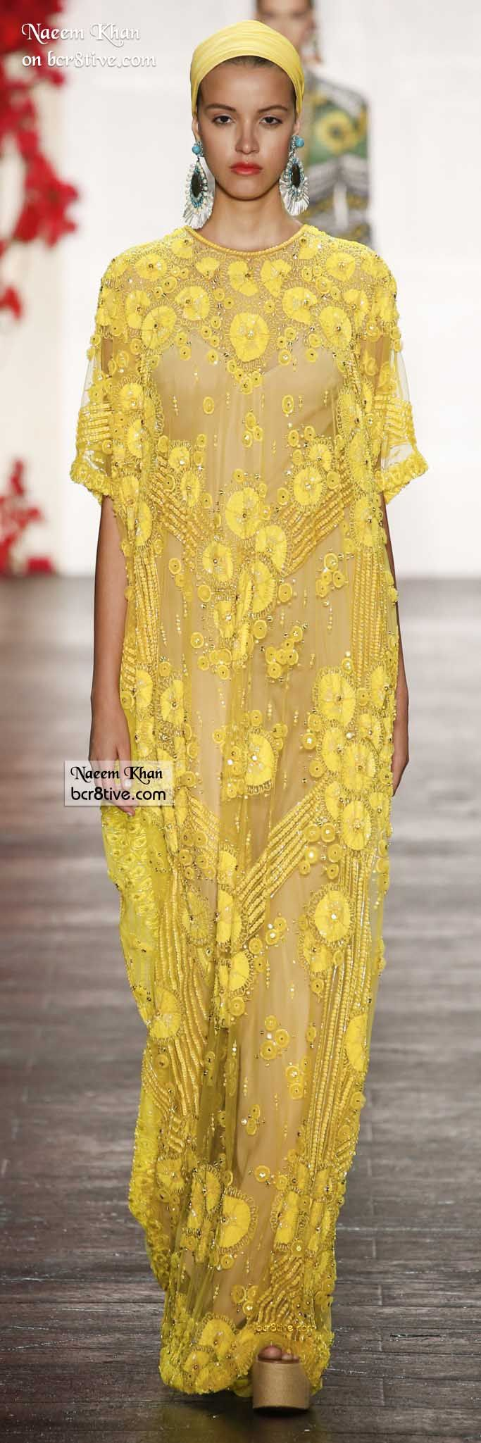 Naeem Khan Spring 2016.Come To The Casbah:Stunning Caftan Strewn With Dainty,Lush Blooms.