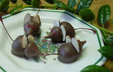 Chocolate Cherry Mice! Cute little mice from marachino cherries! how to with pictures
