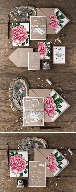 Floral Wedding Invitation Set, Rustic Wedding Invitations, Lace Invitations, Botanical Invites