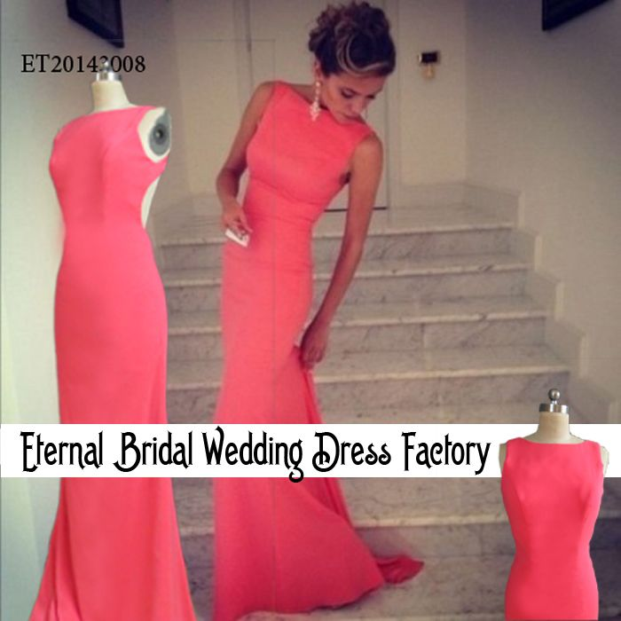 Perfect Sexy Coral Evening Dress New Arrival Open Back Gown Charming Mermaid Scoop Long Formal Evening Party Dresses 2014 $93.75