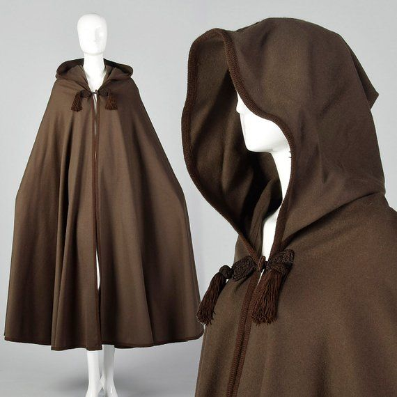 4dbf4682342 Yves Saint Laurent Winter Cape Russian Collection 1976 Brown Long Cloak  Pointed Hood Tassels Large S