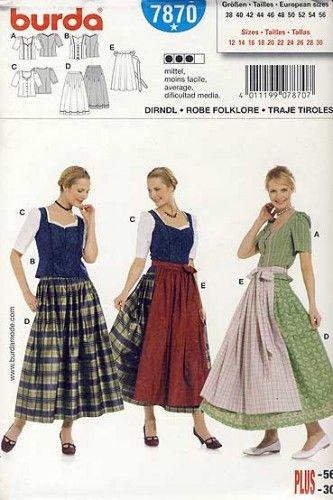 wykrój Burda - tyrolskie stroje regionalne : spódnica, fartuch, bluzka, gorset rozmiar 38 40 42 44
