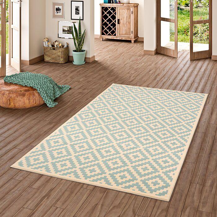 Teppich Kohen In Blau Beige Teppich Design Rauten Und Blaue