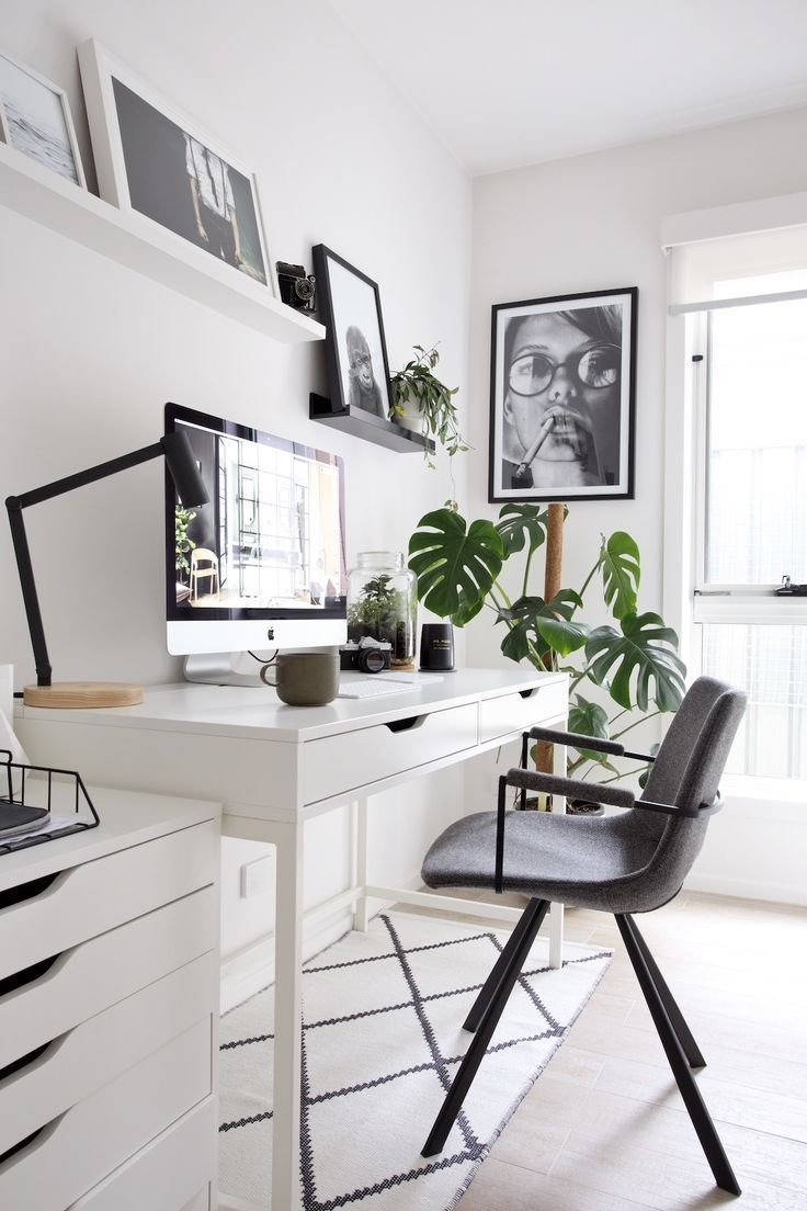 Home office in black and white colors. Wooden desk, Monstera plant
