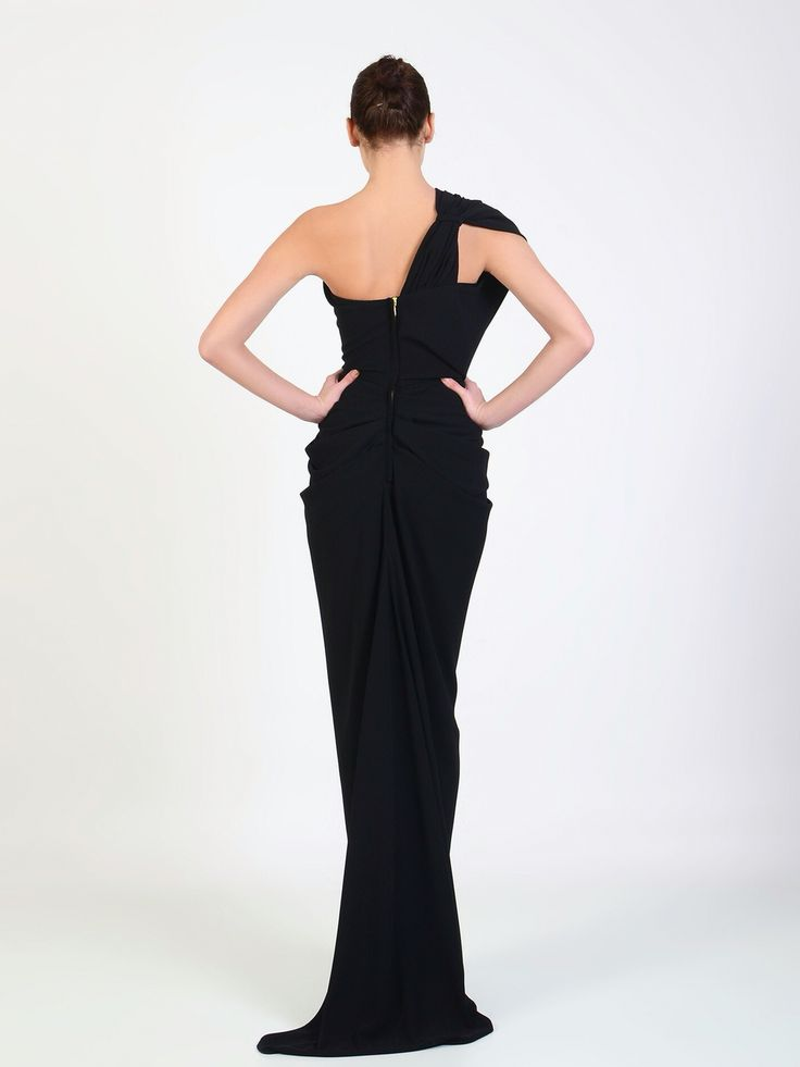 Rhea Costa one shoulder gown