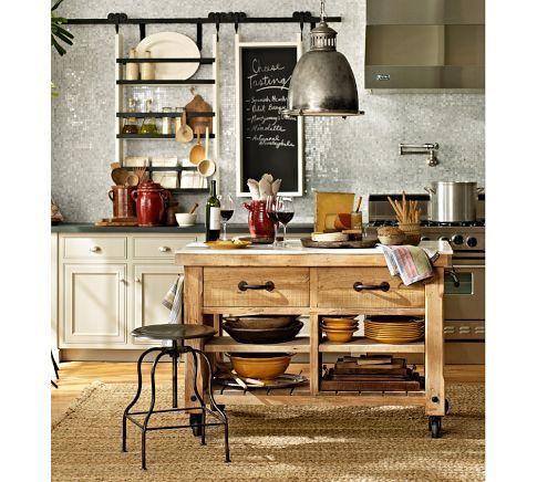 Hamilton Reclaimed Wood Marble-Top Kitchen Island - Large | Pottery Barn