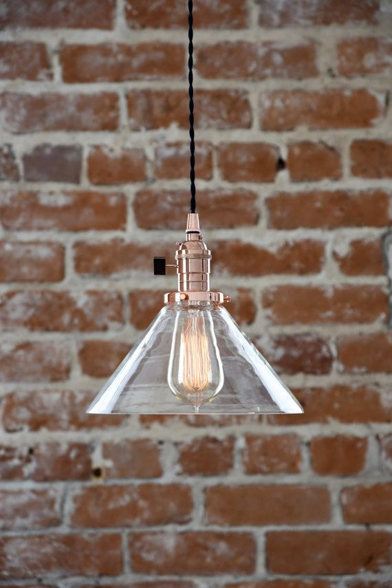 Beautiful copper and glass cone shade industrial pendant light. Features wavy glass for a great vintage feel. Handmade in the U.S.A. with top quality components. Glass is 9 inches in diameter. Distance from the bottom of the glass to the top of the socket is 8 inches. Can be wired with a plug or with a matching copper (plated) canopy kit for hardwiring. 12 wire choices! Comes standard with 4 feet of wire, additional lengths available in options. Bulb not included. Thanks