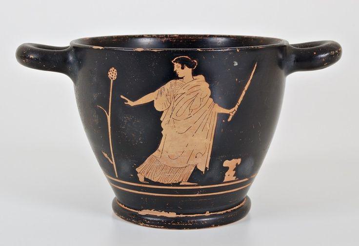 Le Raccolte > Ceramiche Classiche  Vaso biansato con satiro e menade. Terracotta con patina. Ceramica Attica, circa 450 a.C. Deposito Museo Archeologico di Ferrara, inv. 9581