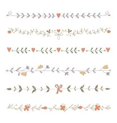Set of hand drawn floral border elements vector vintage by Julia_Henze on VectorStock®