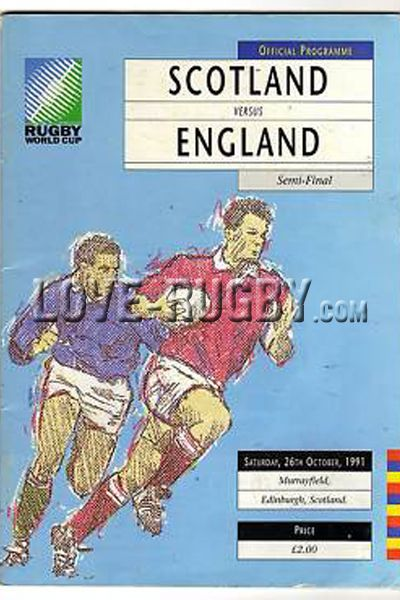 #rugby today 26/10 in 1991 : Scotland 6-9 England - rugby world cup programme from Murrayfield