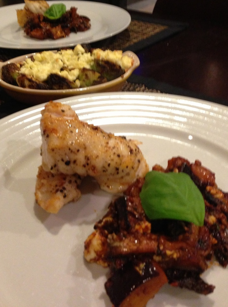 Seared monkfish, spicy eggplant
