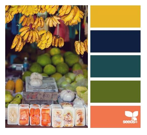 A unique rich and sophisticated summer color palette based on summer fruit markets