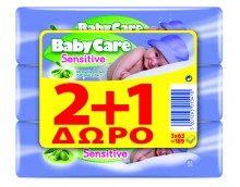 Μωρομάντηλα Babycare Sensitive εγκύλισμα ελιάς 63τεμ 2+1 (189τεμ)