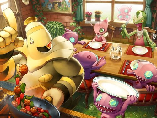 This is one cute pokemon anime wallpaper. It shows a pokemon making a meal for his pals.