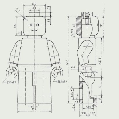 Technical drawings of the minifigure