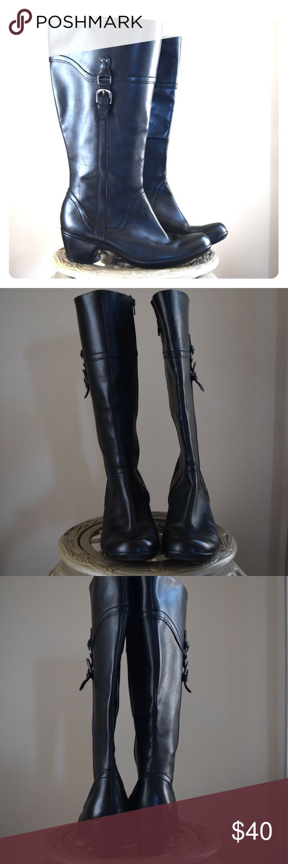 "Black leather Clark's boots Black leather Clark's boots  •size 9.5 •black leather •silver hardware  •2"" heel •excellent condition Clarks Shoes Heeled Boots"