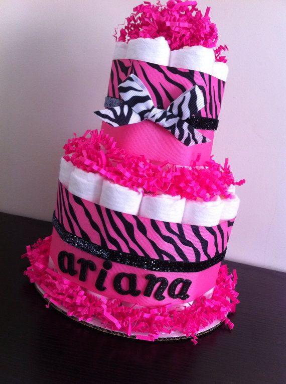 Hot Pink Zebra Diaper Cake, Girl Baby Shower, Pink and Black Zebra, Baby Shower Centerpiece on Etsy, $25.00