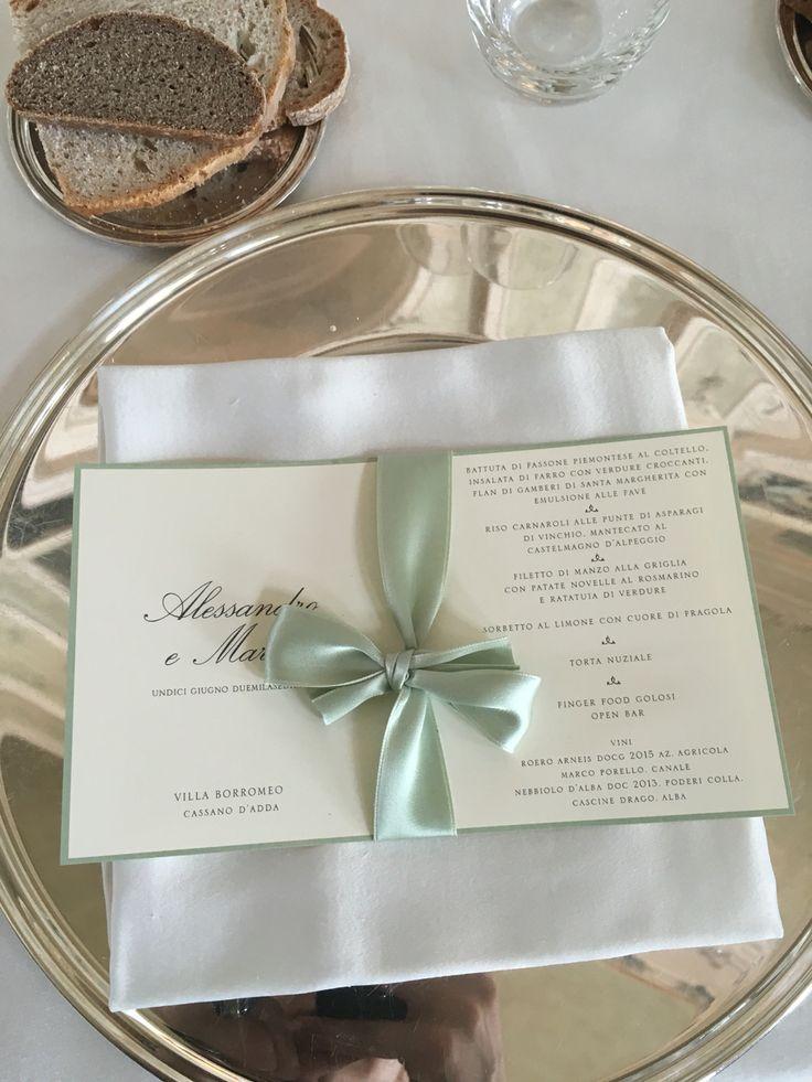 Menù matrimonio, mise en place Wedding, allestimento matrimonio, nastri verde, centrotavola Wedding,