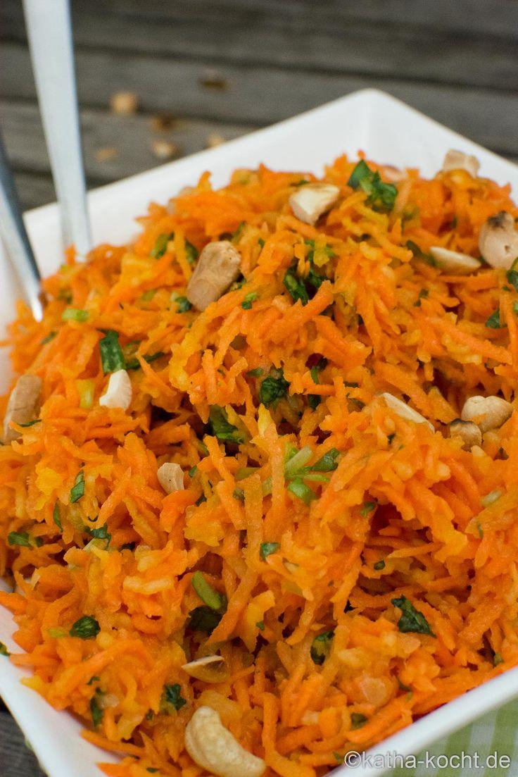 Cashew-Karottensalat mit Apfel und Basilikum - Rohkostsalat