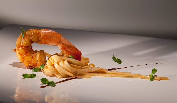 Recipes by Alex Atala | Lifestyle | Wallpaper* Magazine: Heart of palm fettuccine with coral butter and glazed shrimp