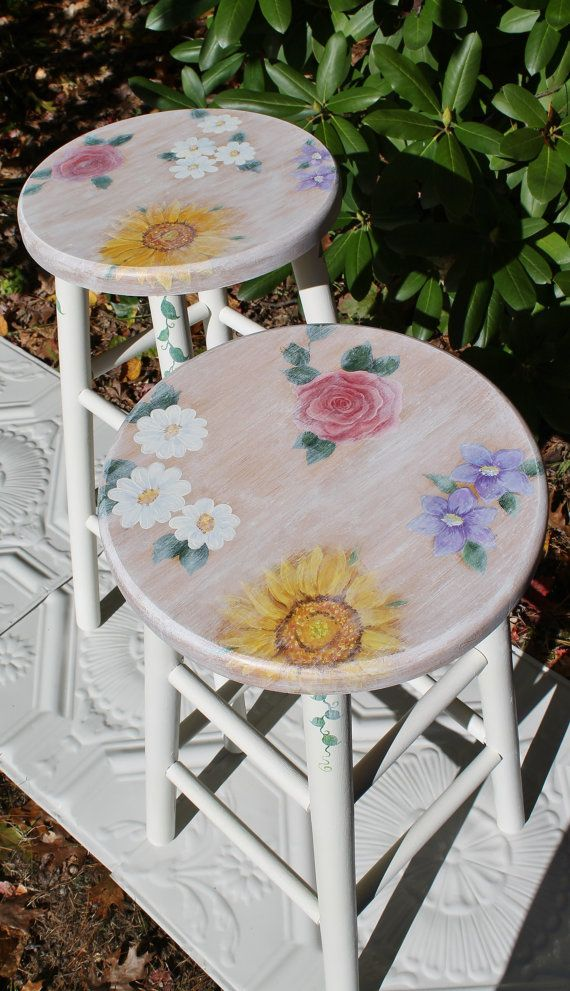 Hand Painted Bar Stools Decorative Chairs By